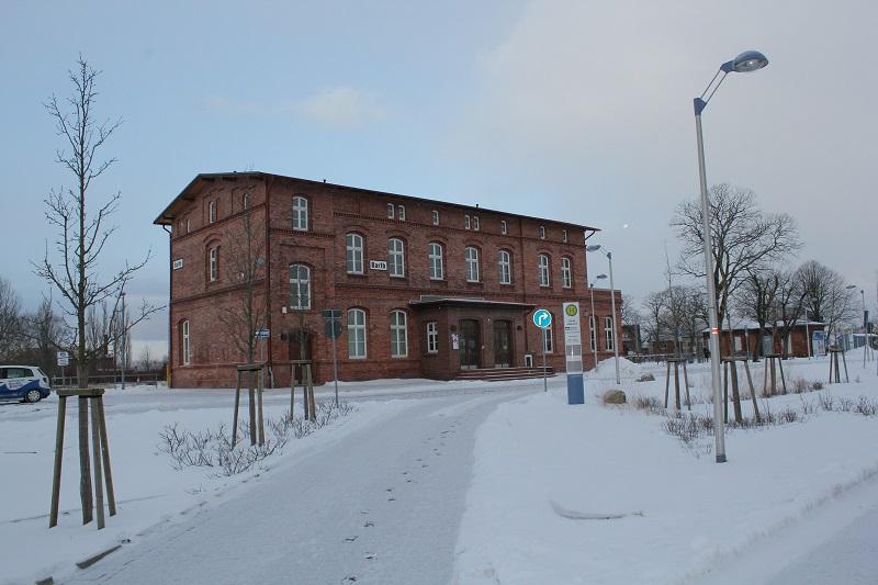 Bahnhof Barth im Schnee