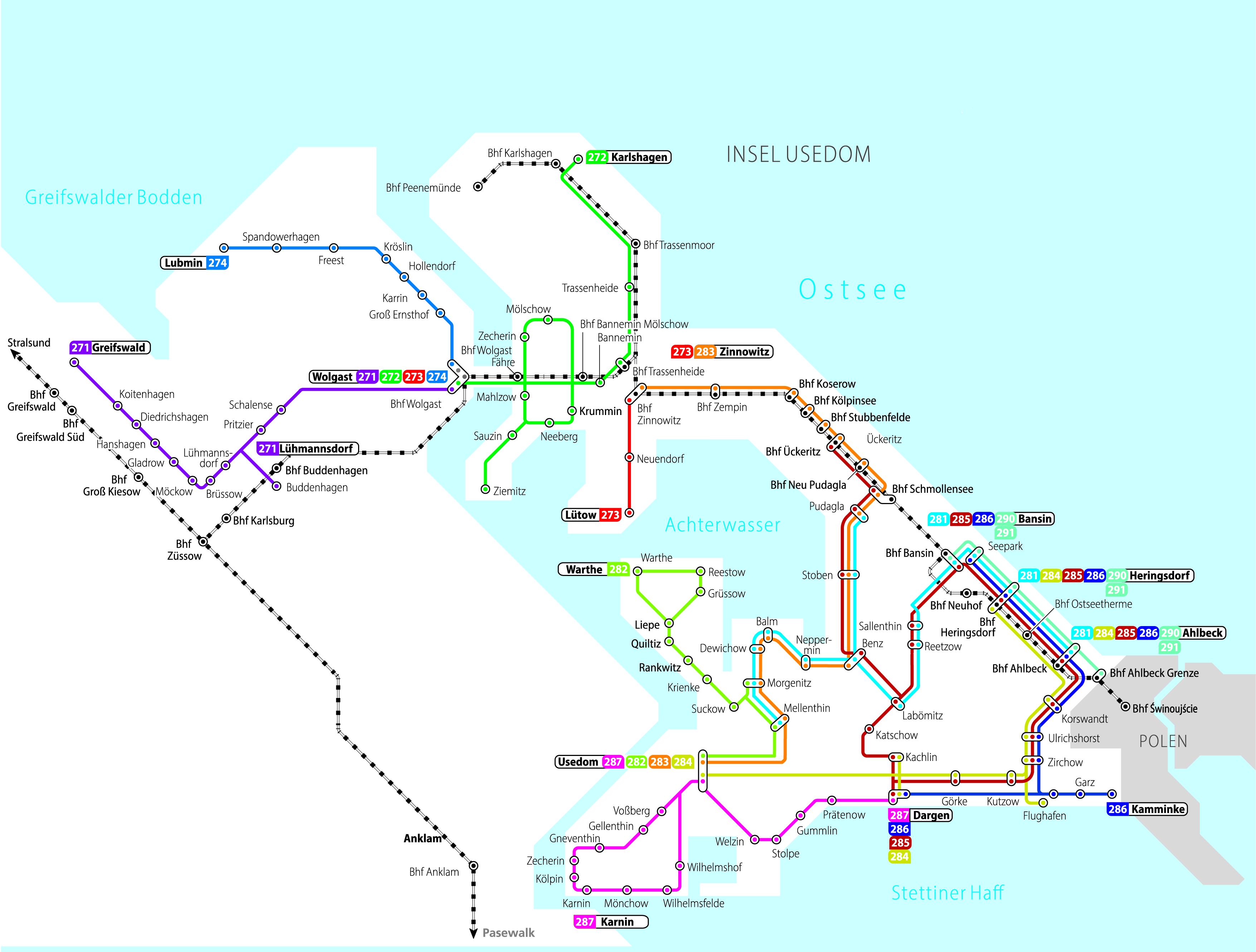 Gesamtübersicht UBB-regionalbuslinie Insel Usedom und Umgebung