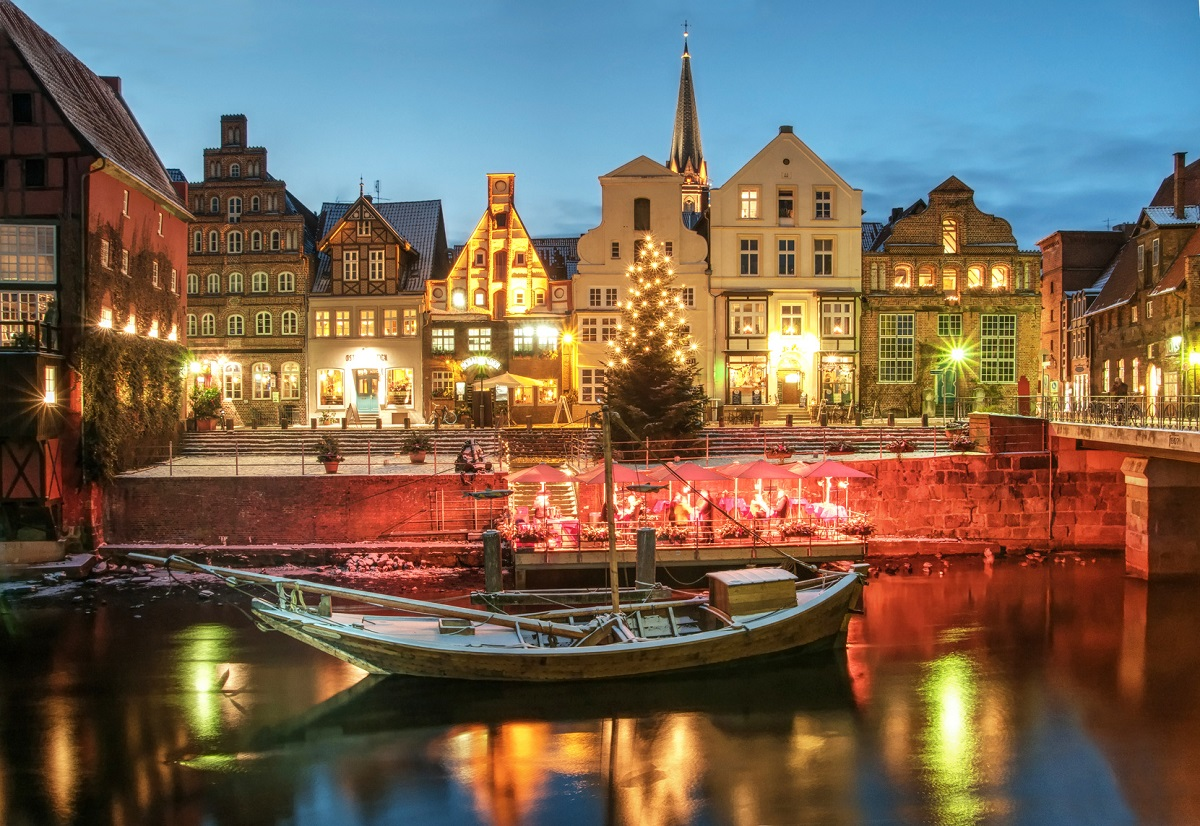 Snow- and Christmasscenery by night, Lüneburg, near Hamburg, Ge