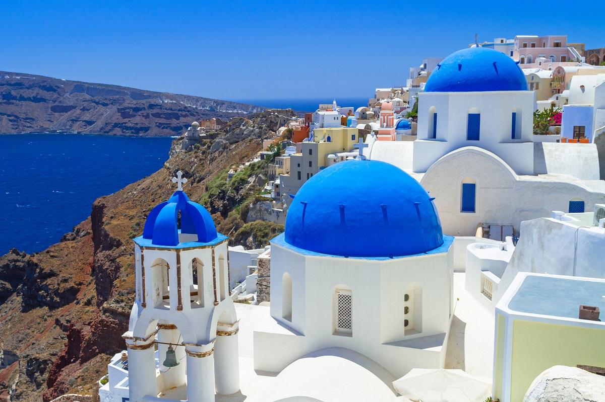 Typische blau-weiße Häuser in Griechenland