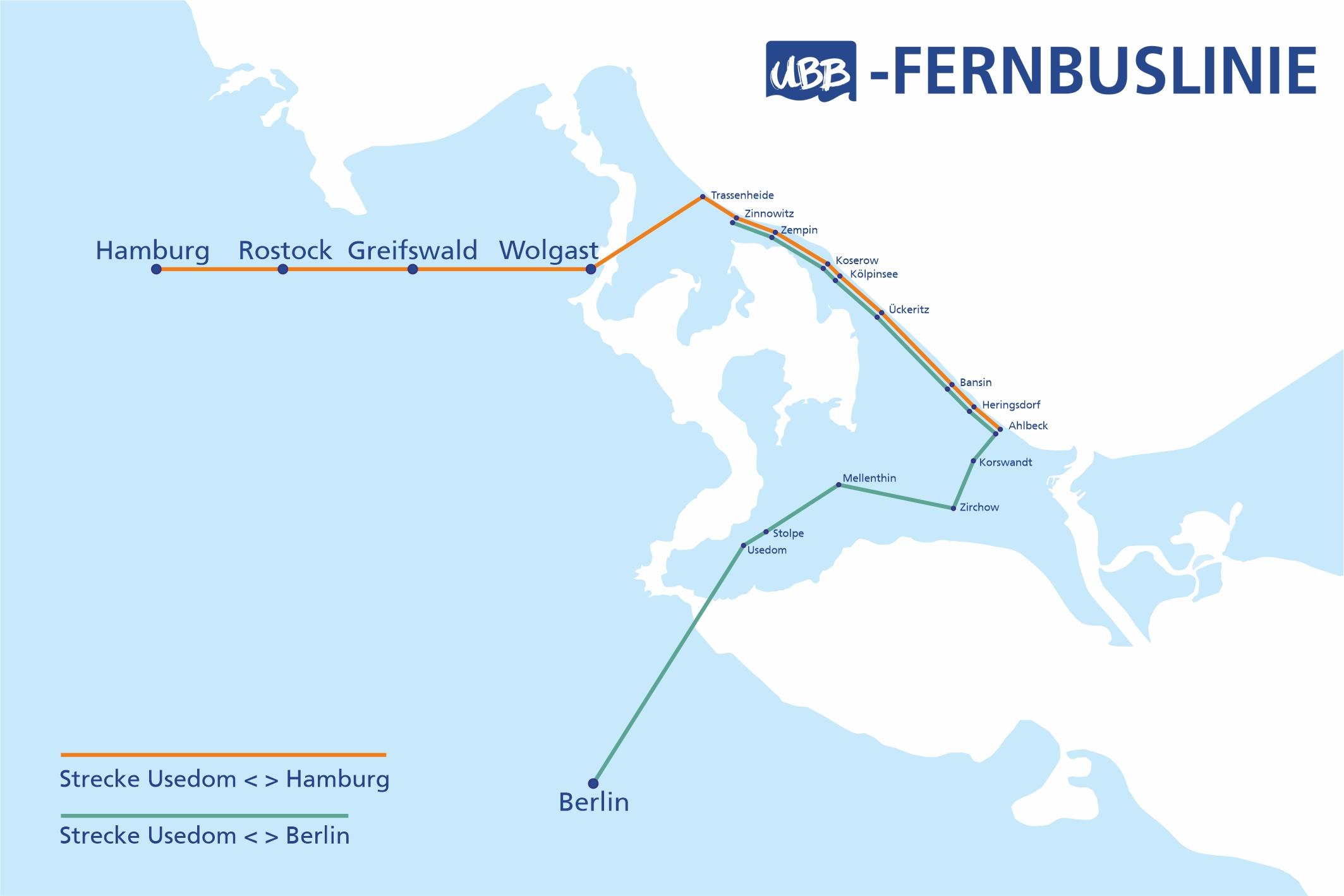 UBB Fernbus Liniennetz